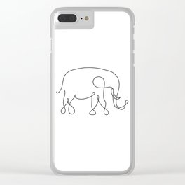 Elephant Line Art Clear iPhone Case