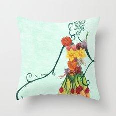 Female Floral Throw Pillow