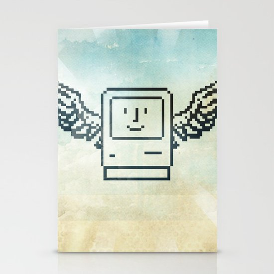 pixel mac with wings Stationery Cards