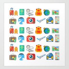 Travel Icons Art Print