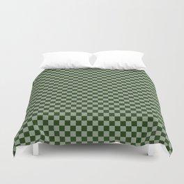 Dark Forest Green Checkerboard Pattern Duvet Cover