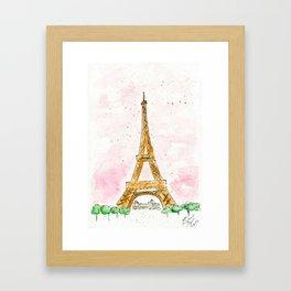 Pink Sky Eiffel Tower Watercolor Framed Art Print