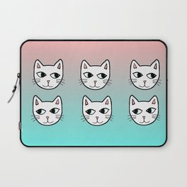Whimsical White Cats Mint Pink Pattern Laptop Sleeve