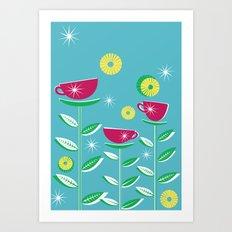 Teacups - Blue Art Print