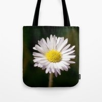 daisy Tote Bags featuring Daisy by Lori Anne Photography