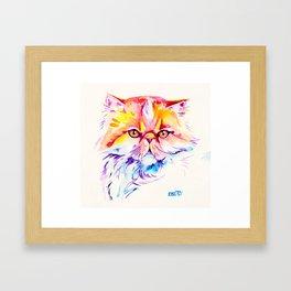 Persian Cat Watercolor Painting Framed Art Print
