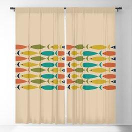 Midcentury Modern Multicolor Fish Stripe Pattern in Olive, Mustard, Orange, Teal, Beige Blackout Curtain
