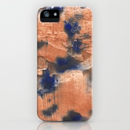 Peach Blue colorful watercolor design iPhone Case