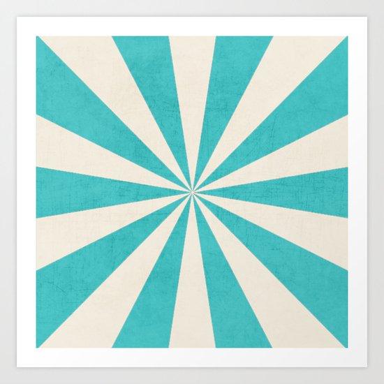 aqua starburst Art Print