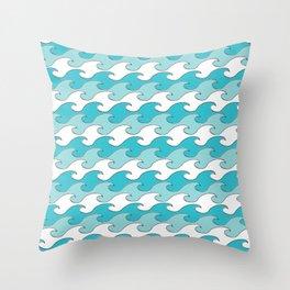 Silver Tipped Waves White Robins Egg Light Teal Seaside Ocean Beach Throw Pillow
