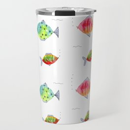 Whimsical fishes watercolor pattern Travel Mug