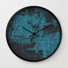 Phoenix map blue Wall Clock