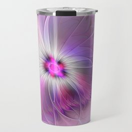 Abstract Flower With Pink And Purple Fractal Travel Mug
