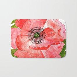 Pink Poppy Flower Bath Mat
