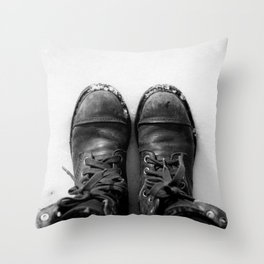 Shoes in Snow Throw Pillow