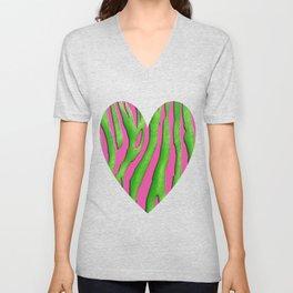 Bright Pink & Green Zebra Print Unisex V-Neck