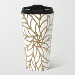 Elegant white faux gold floral trendy mandala Travel Mug