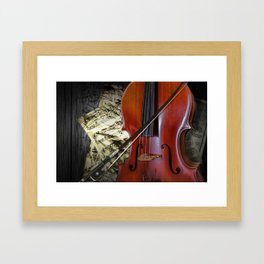 Cello with Bow a Stringed Instrument with Classical Sheet Music Framed Art Print