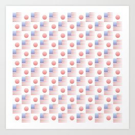 Mix of flag : USA and Japan 2 with color gradient Art Print