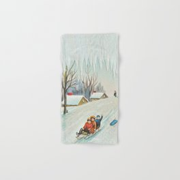 Happy vintage winter sledders Hand & Bath Towel