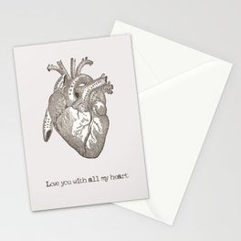Love you with all my heart vintage illustration Stationery Cards