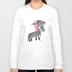 Long-Haired Goat, Pink Long Sleeve T-shirt