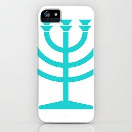 Hannukah Teal Menorah Chanukah iPhone Case
