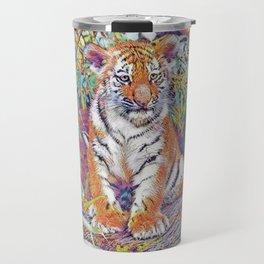 Tiger Cub Pop Art   Oil Painting Travel Mug
