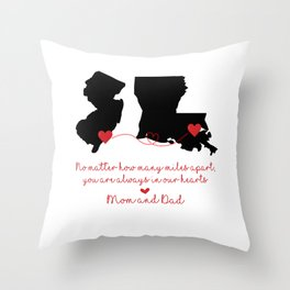 New Jersey + Lousianna Love Mom and Dad Throw Pillow