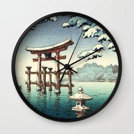 Tsuchiya Koitsu - Snowy Miyajima - Japanese Vintage Woodblock Painting Wall Clock