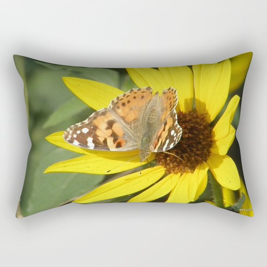 Painted Lady Butterfly Picks Pollen Rectangular Pillow