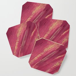 Pink and yellow paint smears Coaster