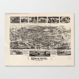 Vintage Pictorial Map of Rockaway NJ (1902) Canvas Print