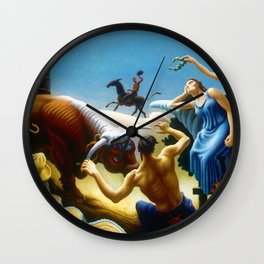 Classical Masterpiece 'Achelous and Hercules' by Thomas Hart Benton Wall Clock