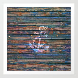 Nautical blue pink watercolor rustic wood white anchor Art Print