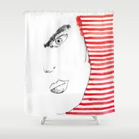 geisha Shower Curtains featuring Geisha by Luis C. Araujo