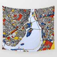 montreal Wall Tapestries featuring montreal map mondrian by Mondrian Maps