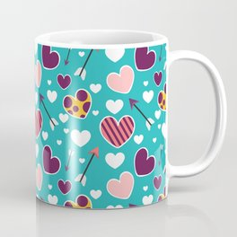 Love hearts pattern. Cute doodle heart. Romantic hand drawn background. Coffee Mug