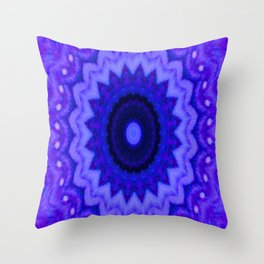 Lovely Healing Mandala  in Brilliant Colors: Black, Purple, and Blue Throw Pillow