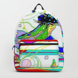 MODERN DRAGONFLY LANDSCAPE RED-PURPLE ABSTRACT Backpack