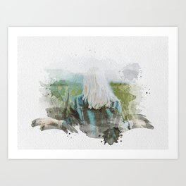 Forest girl Watercolor Art Print