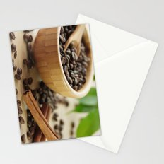 Still life of bamboo shell with fine Arabica coffee as kitchens Stationery Cards