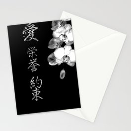 Japanese Orchids in Black Stationery Cards