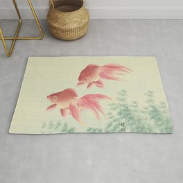 Goldfish Vintage Japanese Woodblock Print Rug