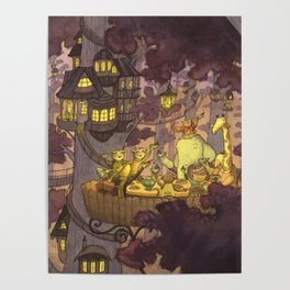 Treehouse Dinner With Animal Friends Poster