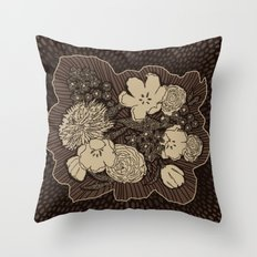 Placed Floral: Brown Combo Throw Pillow