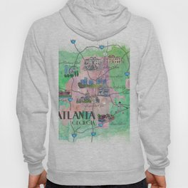 Atlanta Favorite Map with touristic Top Ten Highlights Hoody