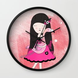 Flavia and Flamingo Wall Clock