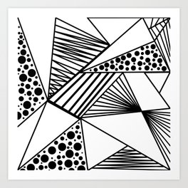 Modern abstract black white geometric stripes polka dots Art Print