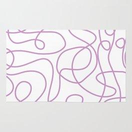Doodle Line Art   Lavender Purple Lines on White Background Rug